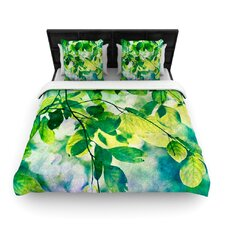 Leaves by Sylvia Cook Fleece Duvet Cover