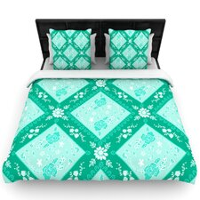Diamonds Mint by Anneline Sophia Woven Duvet Cover