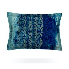 Mosaic in Cyan by Frederic Levy-Hadida Cotton Pillow Sham