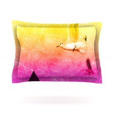 Seagulls in Shiny Sky by Frederic Levy-Hadida Cotton Pillow Sham