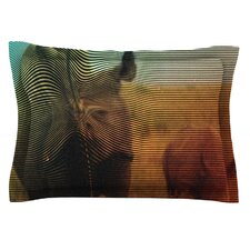 Abstract Rhino by Danny Ivan Cotton Pillow Sham