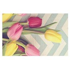 Tulips and Chevrons by Catherine McDonald Decorative Doormat