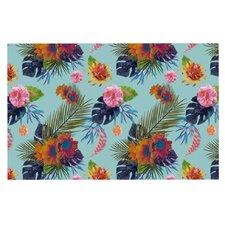 Tropical Floral by Nika Martinez Blue Flowers Decorative Doormat
