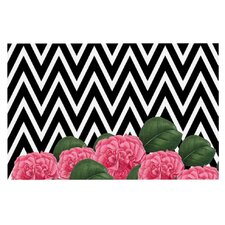 Camellia by Suzanne Carter Chevron Flower Decorative Doormat