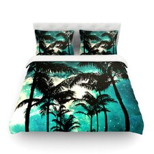 Palm Trees and Stars by Caleb Troy Light Cotton Duvet Cover