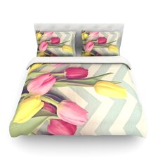 Tulips and Chevrons by Catherine McDonald Light Cotton Duvet Cover