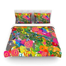 Psychedelic Garden Light by Frederic Levy-Hadida Cotton Duvet Cover