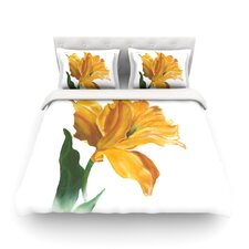 Yellow Tulip Light by Lydia Martin Cotton Duvet Cover