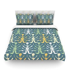 My Leaves on Blue by Julia Grifol Light Cotton Duvet Cover