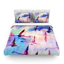 Flamingo in Flight by Nikki Strange Cotton Duvet Cover