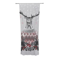 Christmas Deer Snow Curtain Panels (Set of 2)