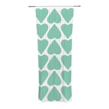 Mint Up and Down Hearts Curtain Panels (Set of 2)
