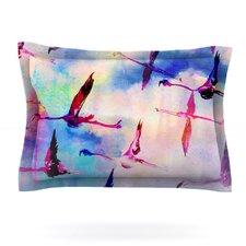 Flamingo in Flight by Nikki Strange Woven Pillow Sham