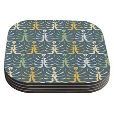 My Leaves on Blue by Julia Grifol Coaster (Set of 4)