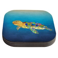 Bubbles by Catherine Holcombe Blue Turtle Coaster (Set of 4)