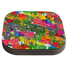 Psychedelic Garden by Frederic Levy-Hadida Coaster (Set of 4)