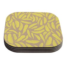 Yellow Feather by Skye Zambrana Coaster (Set of 4)