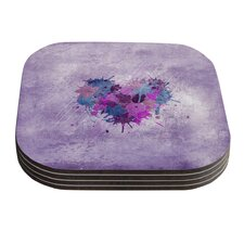 Painted Heart by Nick Atkinson Coaster (Set of 4)