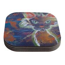 Rave Kitty by Padgett Mason Coaster (Set of 4)