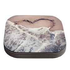 Heart in the Sand by Nastasia Cook Coaster (Set of 4)