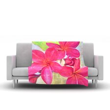 Plumeria by Sylvia Cook Fleece Throw Blanket
