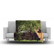 Oh Deer by Robin Dickinson Micro Fiber Fleece Throw Blanket