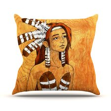 Owl Feather Dress Throw Pillow