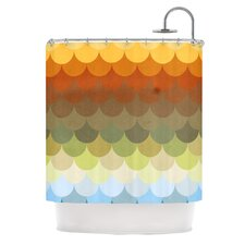 Half Circles Waves Polyester Shower Curtain