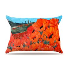 Poppies Microfiber Fleece Pillow Case
