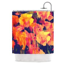 Geo Flower Polyester Shower Curtain