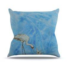 Crane by Kira Crees Throw Pillow