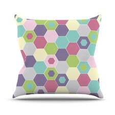 Pale Bee Hex Throw Pillow