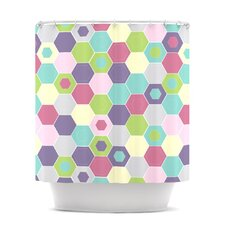 Pale Bee Hex Polyester Shower Curtain