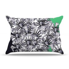 Inky Flowers on Green Pillow Case