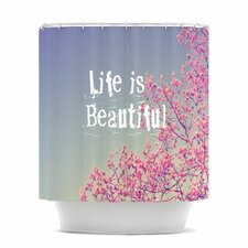 Life Is Beautiful Polyester Shower Curtain