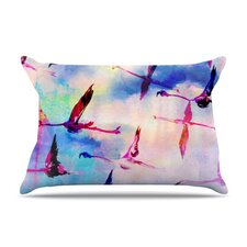 Flamingo in Flight Fleece Pillow Case