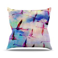 Flamingo in Flight Throw Pillow