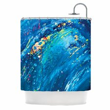 Big Wave Polyester Shower Curtain