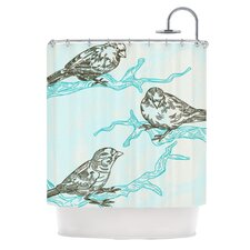 Birds in Trees Polyester Shower Curtain