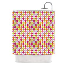Happy Circles Polyester Shower Curtain