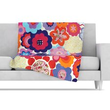 Patchwork Flowers Fleece Throw Blanket