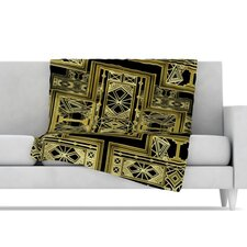 Golden Art Deco Fleece Throw Blanket