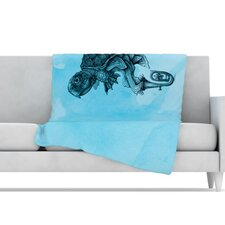 Turtle Tuba III Microfiber Fleece Throw Blanket