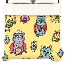 """Owls Yellow"" Woven Comforter Duvet Cover"