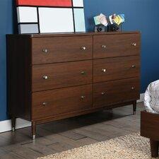 Olly Mid-Century Modern 6 Drawer Dresser