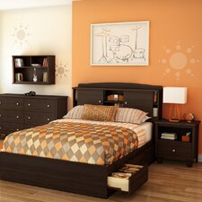 Clever Room Bookcase Headboard in Mocha