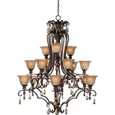 Dresden 15 Light Chandelier with Ember Glass