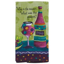 Wine Is the Answer What was the Question Kitchen Terry Towel (Set of 6)