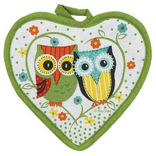 Life's A Hoot Heart Shaped Pot Holder
