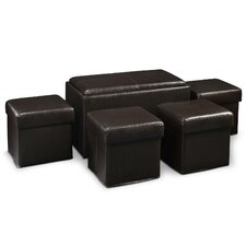 <strong>Convenience Concepts</strong> Designs4Comfort Manhattan Storage Bench with Collapsible Ottoman Set